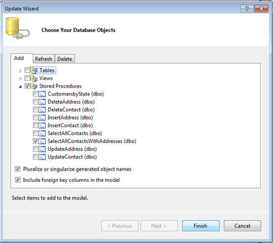 Entity Framework – Using Select stored procedures for